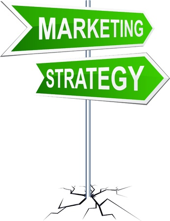 marketing strategy: Vector Richtung Schild mit Marketing-Strategie Worte.