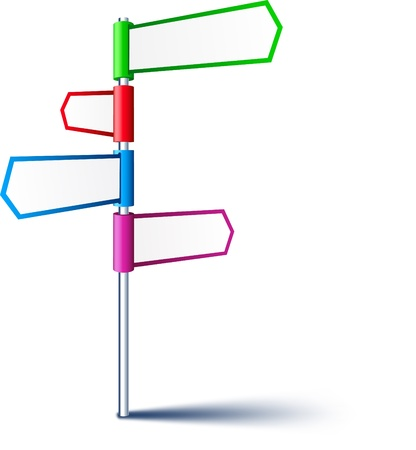 sign pole: Vector direction sign with four frames.  Illustration
