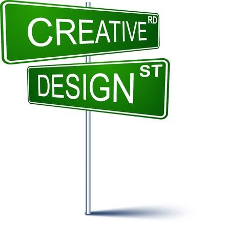 cruce de caminos: Se�al de direcci�n vectorial con palabras de dise�o creativo.
