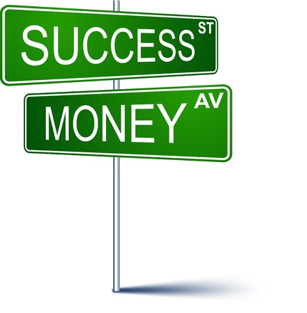 Vector direction sign with Success money words.  Illustration