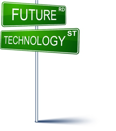 decide: Vector direction sign with Future technology words.  Illustration
