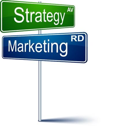 cruce de caminos: Se�al de direcci�n vectorial con palabras de estrategia de marketing.