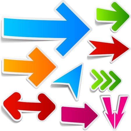 flecha azul: Colecci�n de flechas de papel pegajoso. Ilustraci�n vectorial. Vectores