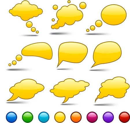 Glossy det of shiny glass speech bubbles.  Vector