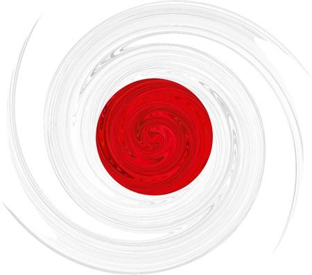 bandera japon: Ilustraci�n vectorial de bandera remolino japon�s.