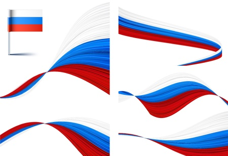 Vector illustration of national russian flags.  Vector