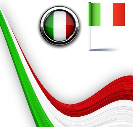 bandera de italia:  Ilustración de la bandera italiana.  Vectores