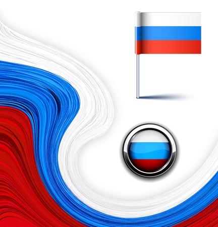 illustration of national russian flag. Vector