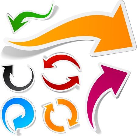 pfeil: Sticky Sammlung von Papier Pfeile. Vektor-Illustration.