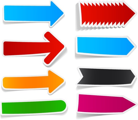 blue arrow: Sticky collection of paper arrows. Vector illustration. Illustration