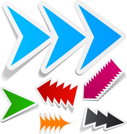 red arrows: Sticky collection of toothy arrows. Vector illustration.