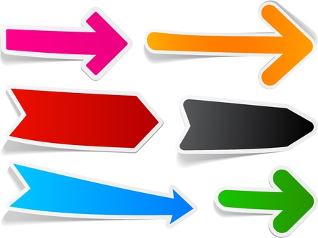 rounded: Sticky collection of paper arrows. Vector illustration. Illustration