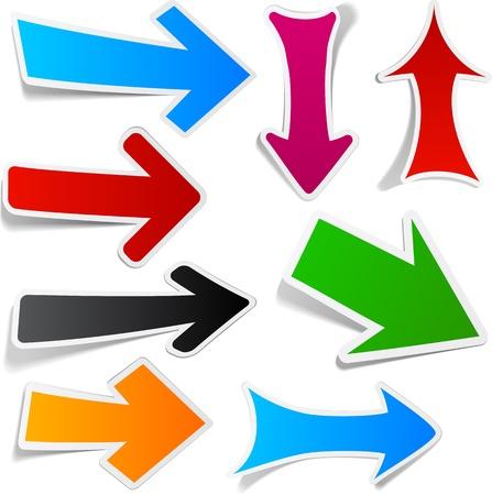 flechas: Colecci�n pegajosa de flechas de papel. Ilustraci�n vectorial.