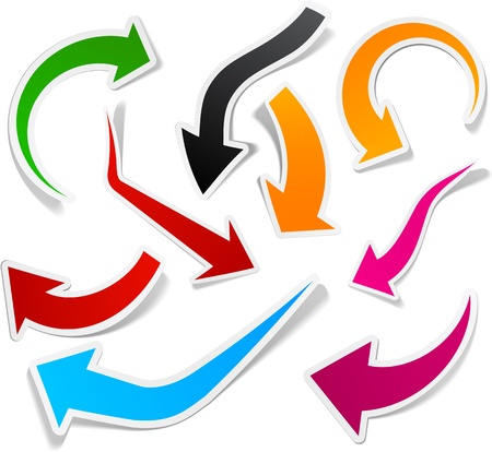 flecha direccion: Colecci�n pegajosa de flechas de papel. Ilustraci�n vectorial.