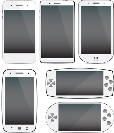 Vector collection of Concept communicators. Large touchscreen. Vector