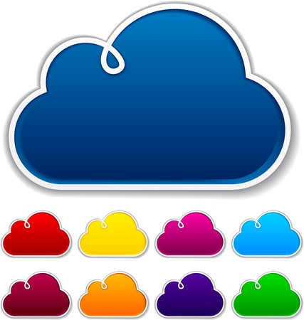 outline red: Vector illustration of blank notice clouds shapes for any text.
