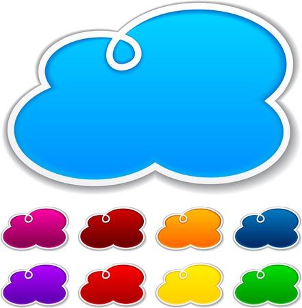 Ilustración vectorial de blanco nubes aviso formas para cualquier texto.