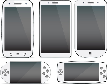 frontal view: Vector collection of white Concept communicators. Large touchscreen.
