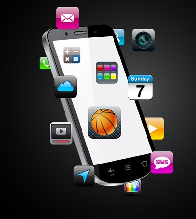 mobile app: Vector Concept communicator with app icons.