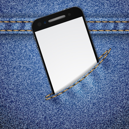 empty pocket: Smartphone in the jeans pocket on denim pattern. Vector illustration. It is easy to move the pocket.