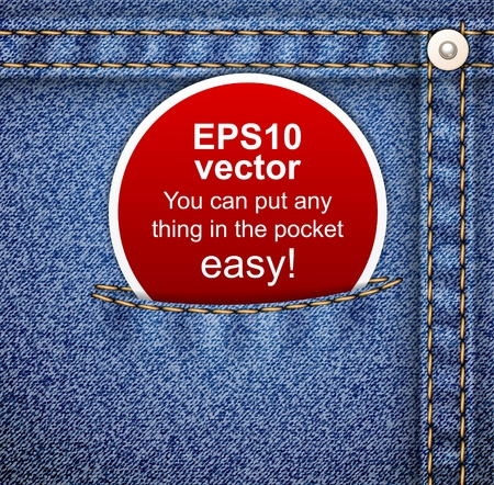 empty pocket: Announcement paper label in the jeans pocket on denim pattern. Vector illustration. It is easy to move the pocket.  Illustration