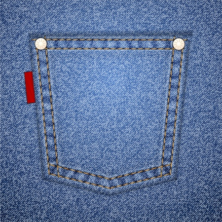 empty pocket: Jeans pocket on denim pattern. Vector illustration. It is easy to move the pocket.