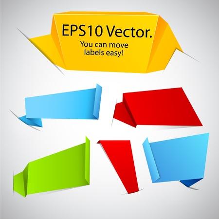 empty pocket: Vector ilustraci�n de las etiquetas modernas de publicidad de origami de papel en los bolsillos.
