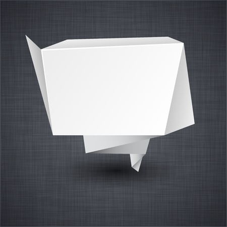 linen texture: Ilustraci�n vectorial de la etiqueta de origami moderno anuncio de papel sobre la textura de lino.