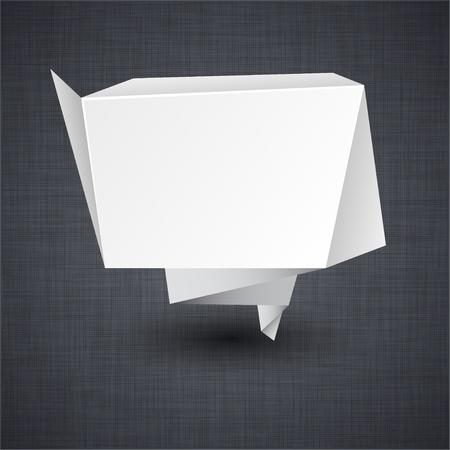 Vector illustration of modern advertisement paper origami label over linen texture. Stock Vector - 10899202
