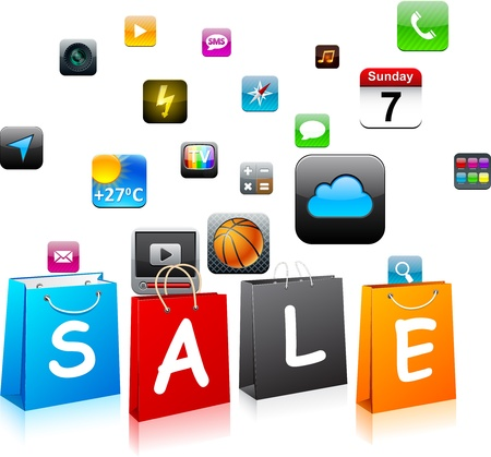 Vector illustration of Sale app icons shopping bags. Vector