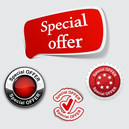 Vector illustration of red Special offer tags. Just place labels on any texture. Vector