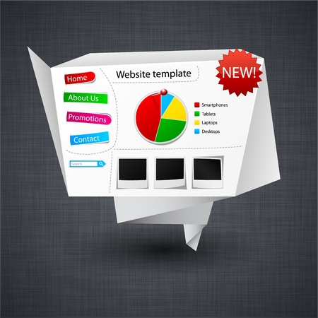 Vector illustration of paper origami website template over linen texture. Stock Vector - 10943333