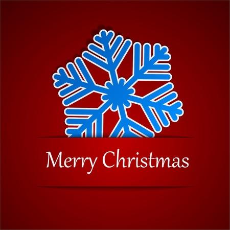 Vector illusttation of christmas blue paper showflake.  Vector