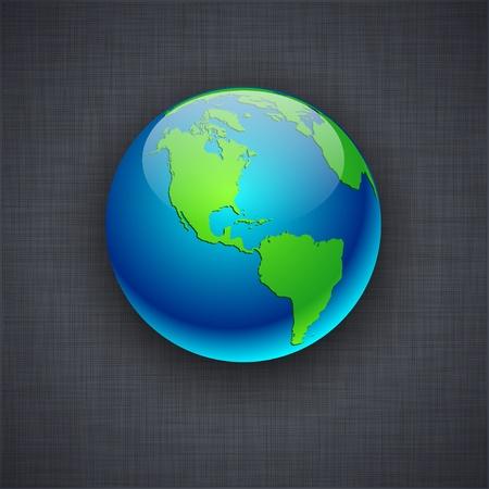linen texture: Blue high-detailed earth ball on linen texture. Vector illustration. Illustration