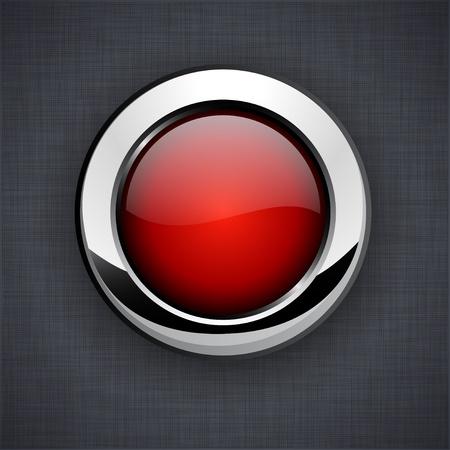 linen texture: En blanco el bot�n rojo en 3d textura de lino. Vectores