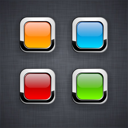 Blank 3d square buttons on linen texture.   Vector