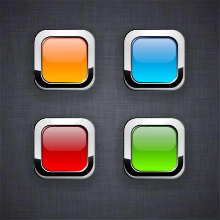 linen texture: En blanco botones 3d cuadrados en la textura de lino.