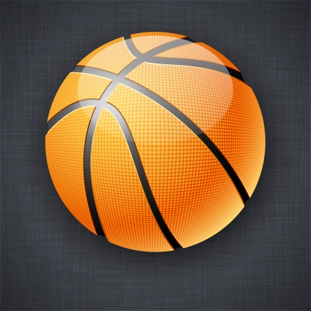 Vector illustration of realistic basketball ball on linen background. Vector