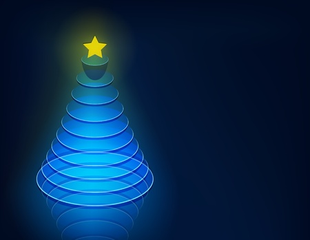 tree disc: Vector illustration of blue christmas tree contained of glass disks.