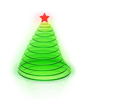 tree disc: Vector illustration of green christmas tree contained of glass disks.
