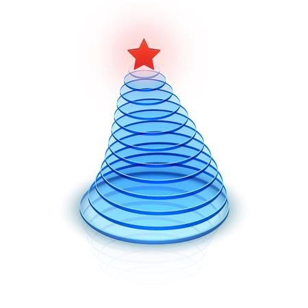 contained: Vector illustration of blue christmas tree contained of glass disks.