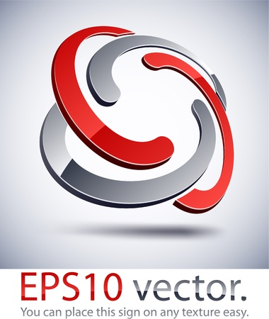nodes: Vector illustration of 3D braided abstract business logo.