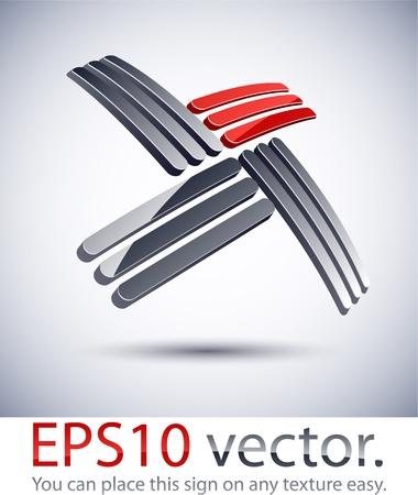 salient: Vector illustration of cross 3D abstract business logo.
