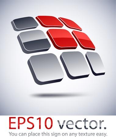 convex shape: Vector illustration of 3D solar battery abstract business logo.  Illustration