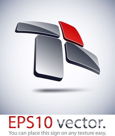 Vector illustration of 3D cross abstract business logo. Vector