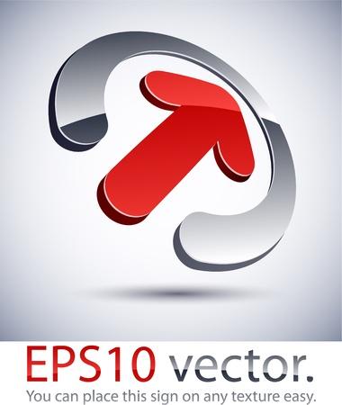 Vector illustration of 3D abstract arrow business logo.  Vector