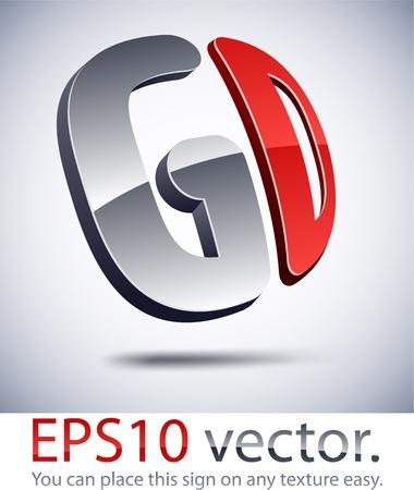 letras cromadas: Ilustraci�n vectorial de 3D logotipo de la empresa GD abstracto. Vectores