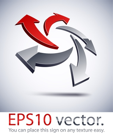 salient: Vector illustration of 3D arrows abstract business logo.  Illustration