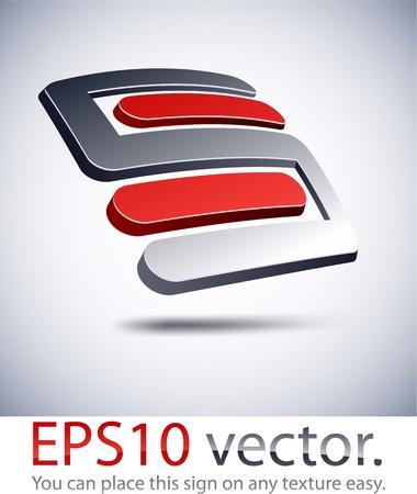 letras cromadas: Ilustración vectorial del logotipo de 3D 'S' de la carta comercial abstracto. Vectores