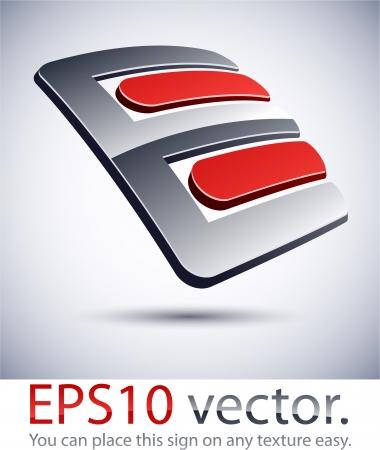 """chrome letters: Ilustraci�n vectorial de 3D """"E"""" logo carta de negocios abstracto."""